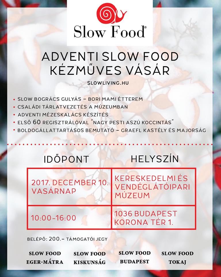 Ünnepeljünk együtt a Slow Food Adventen a Kereskedelmi és Vendéglátóipari múzeumban – Dec.10.